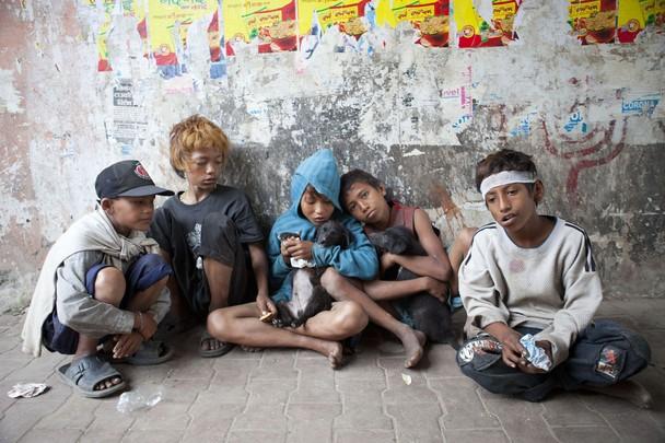 street kids sitting